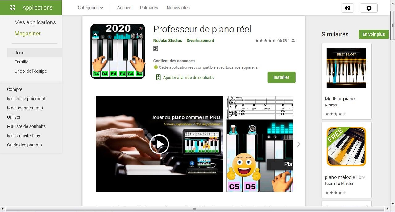 Professeur de piano réel